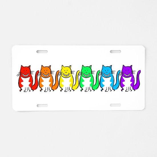 Happy Rainbow Cats Aluminum License Plate