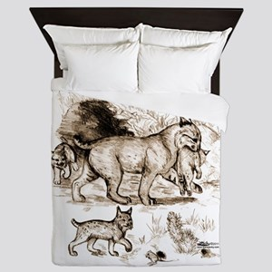 Bobcat Family Queen Duvet