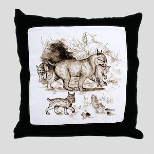 Bobcat Family Throw Pillow