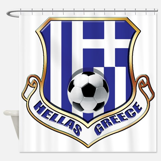 Greek Soccer Shield Shower Curtain