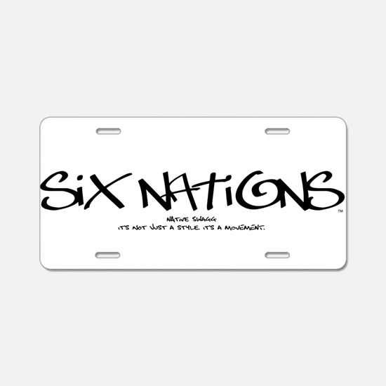 Six NationsBLACK.png Aluminum License Plate