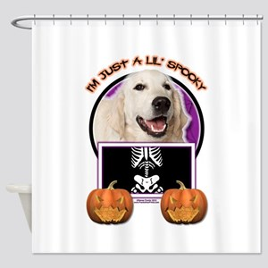 Halloween Just a Lil Spooky Golden Shower Curtain
