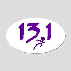 Purple 13.1 half-marathon 20x12 Oval Wall Decal