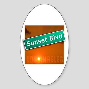 Sunset Boulevard Los Angeles Oval Sticker
