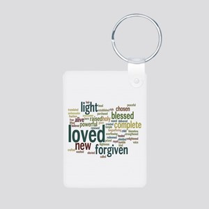 Who I am in Christ Teal Aluminum Photo Keychain