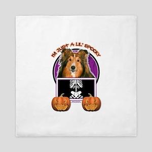 Halloween Just a Lil Spooky Sheltie Queen Duvet