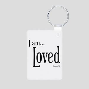 I am Loved Romans 5:8 Aluminum Photo Keychain