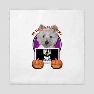 Halloween Just a Lil Spooky Westie Queen Duvet