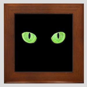 Green Cat Eyes Framed Tile