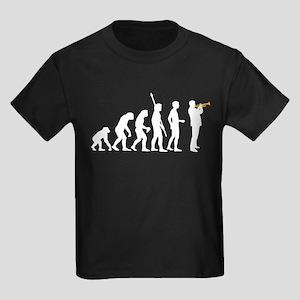 evolution trumpet player Kids Dark T-Shirt