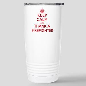 K C Thank Firefighter Stainless Steel Travel Mug