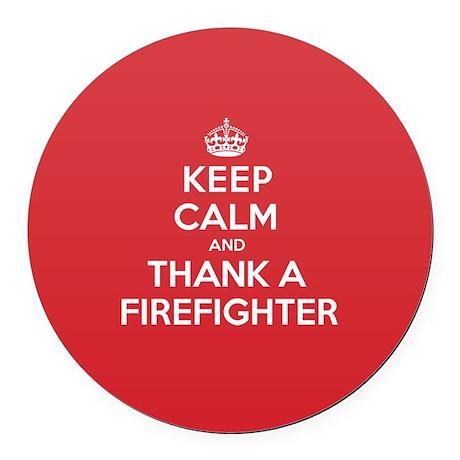 K C Thank Firefighter Round Car Magnet