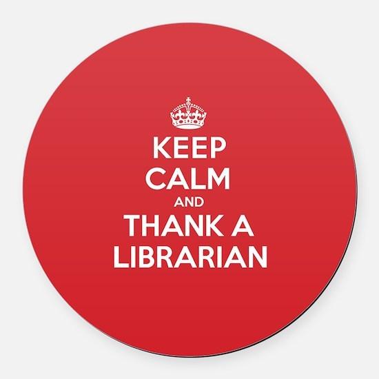 K C Thank Librarian Round Car Magnet