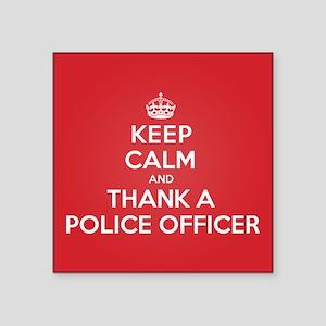 "K C Thank Police Officer Square Sticker 3"" x 3"""