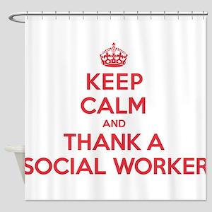 K C Thank Social Worker Shower Curtain