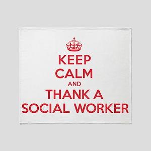 K C Thank Social Worker Throw Blanket
