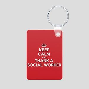 K C Thank Social Worker Aluminum Photo Keychain