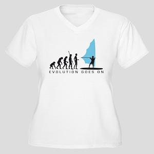 evolution windsurfer Women's Plus Size V-Neck T-Sh