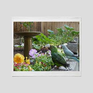 Parrots in the Garden Throw Blanket