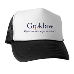 Black and white Groklaw Logo/text Cap