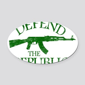 DEFEND THE REPUBLIC (green ink) Oval Car Magnet