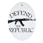 DEFEND THE REPUBLIC (black ink) Ornament (Oval)