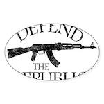 DEFEND THE REPUBLIC (black ink) Sticker (Oval 10 p