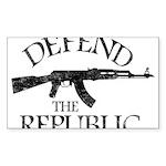 DEFEND THE REPUBLIC (black ink) Sticker (Rectangle