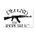 DEFEND THE REPUBLIC (black ink) Rectangle Car Magn