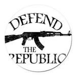 DEFEND THE REPUBLIC (black ink) Round Car Magnet