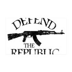 DEFEND THE REPUBLIC (black ink) 35x21 Wall Decal