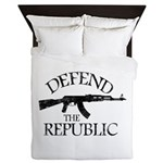 DEFEND THE REPUBLIC (black ink) Queen Duvet