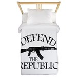 DEFEND THE REPUBLIC (black ink) Twin Duvet