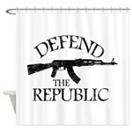 DEFEND THE REPUBLIC (black ink) Shower Curtain