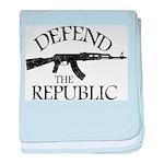 DEFEND THE REPUBLIC (black ink) baby blanket