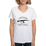 DEFEND THE REPUBLIC (black ink) Women's V-Neck T-S