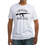 DEFEND THE REPUBLIC (black ink) Fitted T-Shirt