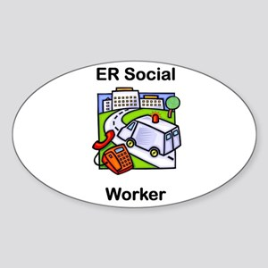 ER Social Worker Oval Sticker