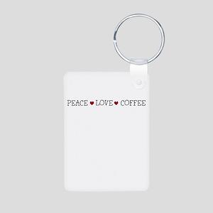 Peace Love Coffee Aluminum Photo Keychain