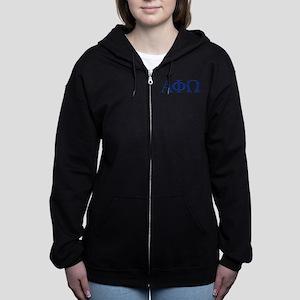Alpha Phi Omega Letters Blue Women's Zip Hoodie