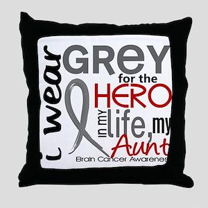 Hero in Life 2 Brain Cancer Throw Pillow