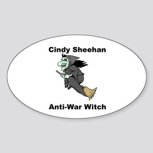 Cindy Sheehan Anti-war Witch Oval Sticker