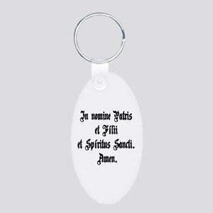 Sign of the Cross Aluminum Oval Keychain
