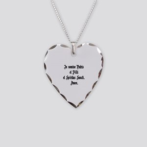 Sign of the Cross Necklace Heart Charm