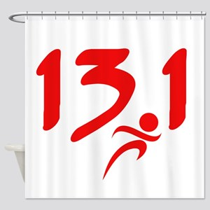 Red 13.1 half-marathon Shower Curtain