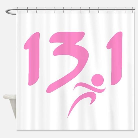Pink 13.1 half-marathon Shower Curtain