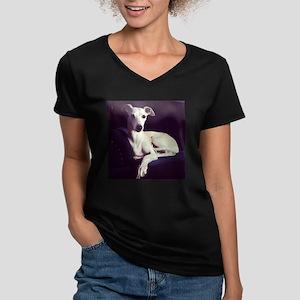 The Whippet Is In Women's V-Neck Dark T-Shirt
