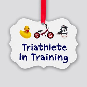 Triathlete in Training Picture Ornament
