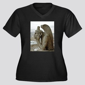 Paris No. 7 Women's Plus Size V-Neck Dark T-Shirt