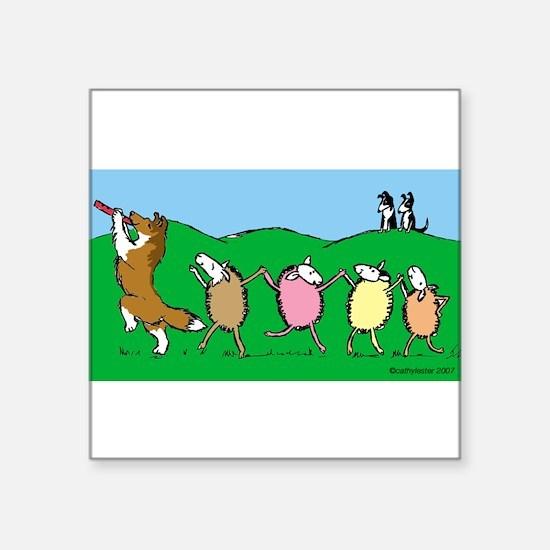 """Pied Piper Sheltie Square Sticker 3"""" x 3"""""""